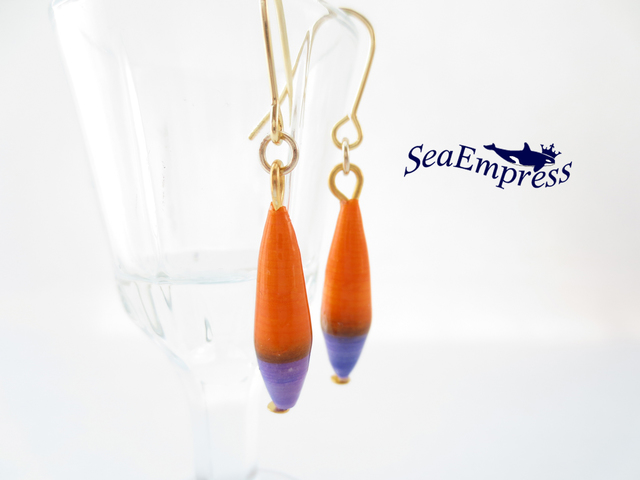 オレンジと紫のペーパービーズ*レジンピ...