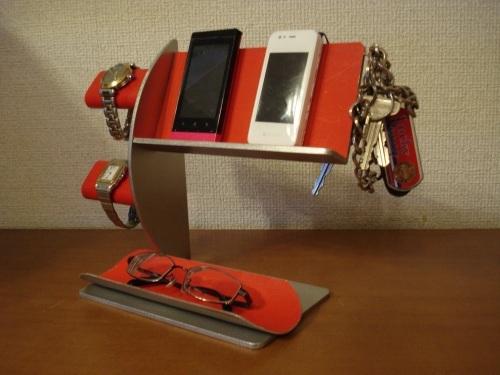 レッド腕時計2本・キー・携帯電話スタンド 《タバコ、ライター、メガネなども置ける大きな小物トレイ付き》