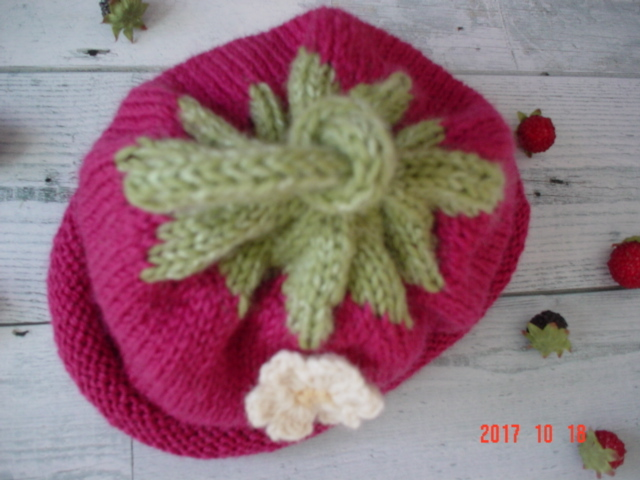 ☆彡イチゴのお花と茎付ビーニーキャップ