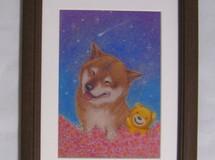 柴犬とクマさんの星☆彡に願いを♪原画■額装