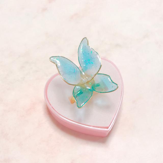 妖精の羽根リング*ブルー (リングケース付)