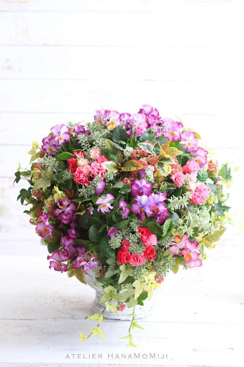 【1点もの】季節の花のウォールバスケット パンジー