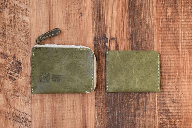 a6a5c7df7710 姫路産 馬革 L型コインケース 財布 手もみ シュリンク加工 オリーブ ギフト 名入れ刻印