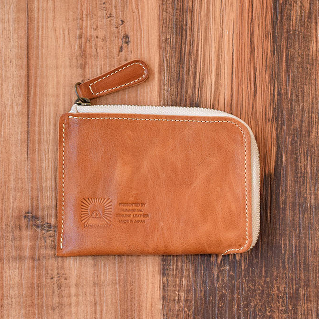e795d5230b5f 姫路産 馬革 L型コインケース 財布 手もみ シュリンク加工 キャメル ギフト 名