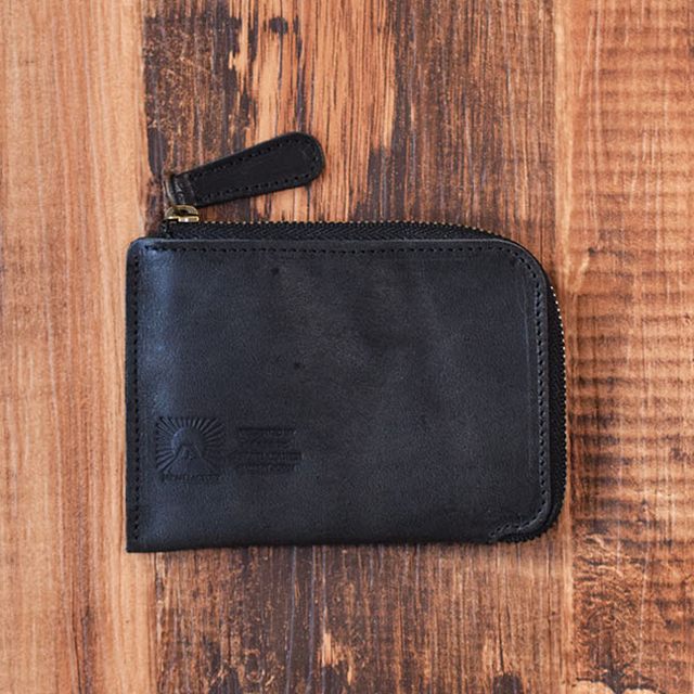 c096c9e386b6 姫路産 馬革 L型コインケース 財布 手もみ シュリンク加工 ブラック ギフト 名