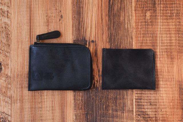 bd5a3e3c23c7 姫路産 馬革 L型コインケース 財布 手もみ シュリンク加工 ブラック ギフト 名入れ刻印