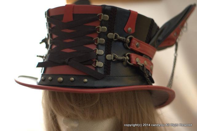 赤黒 ウサミミ・Wベルト・コルセットハット-KURENAI 56cm