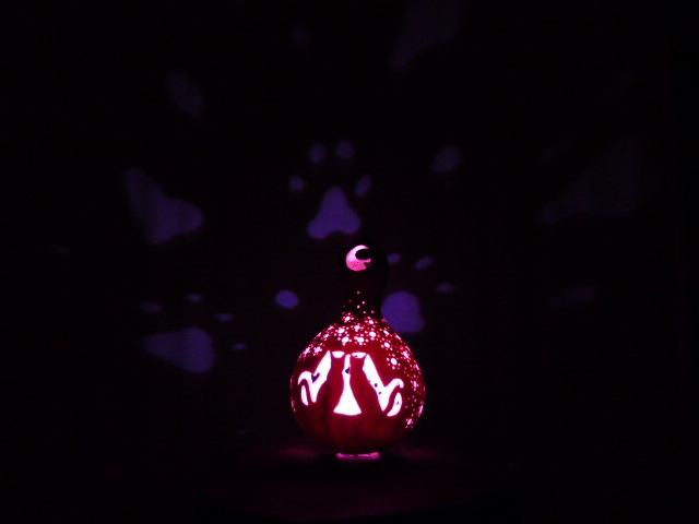 k様ご予約品 ひょうたんランプ お月見ネコ グラディエーションLED