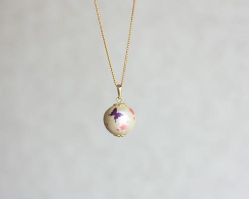 【さくら、咲く】コットンパールのネックレス・蝶と桜/n210