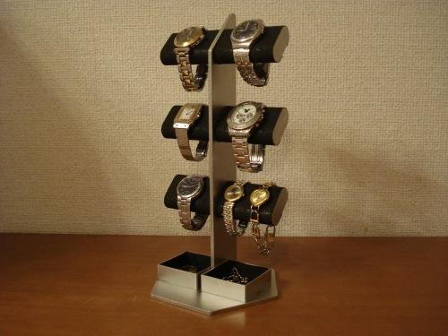 ブラック6本掛けダブル角トレイ腕時計スタンドタワー