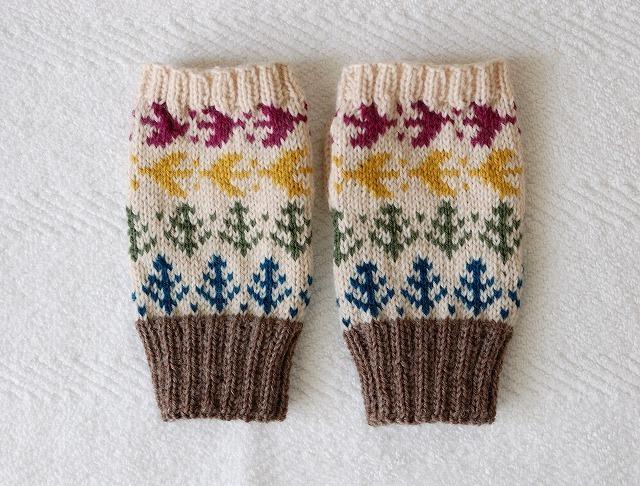 【nami様リクエスト品】手編みの指なしミトン 【森の小鳥】