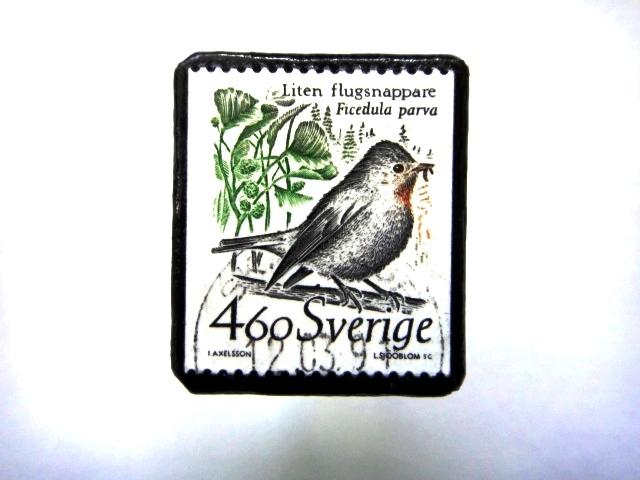 スウェーデン「鳥」 切手ブローチ705