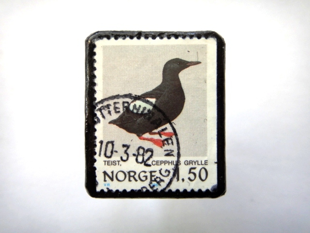 ノルウェー「鳥」 切手ブローチ706