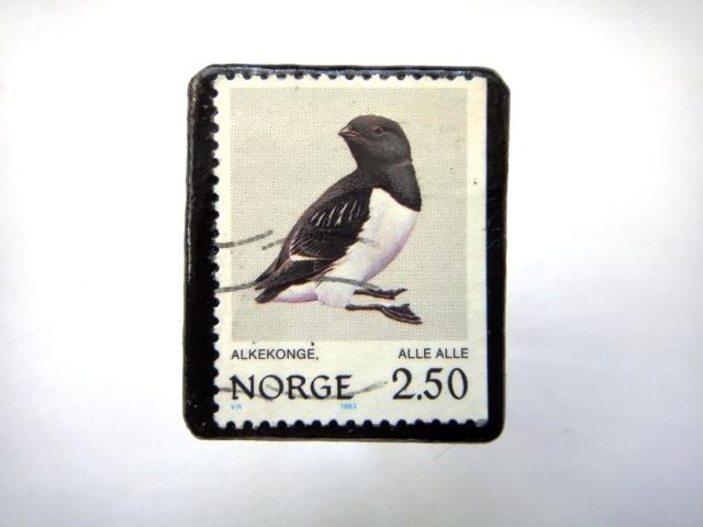 ノルウェー「鳥」 切手ブローチ707