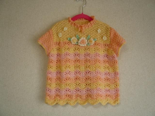 子供用手編みスモックベスト