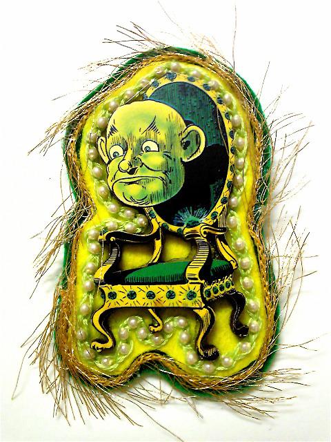 緑のおじさんブローチ。