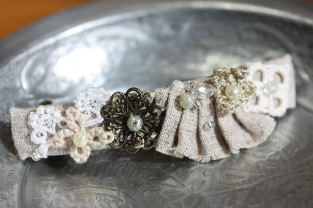 リネンと手編みのお花バレッタ