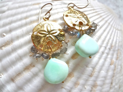 Seaside blue opal earrings