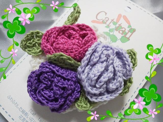 バラのクリップコサージュ(紫系)