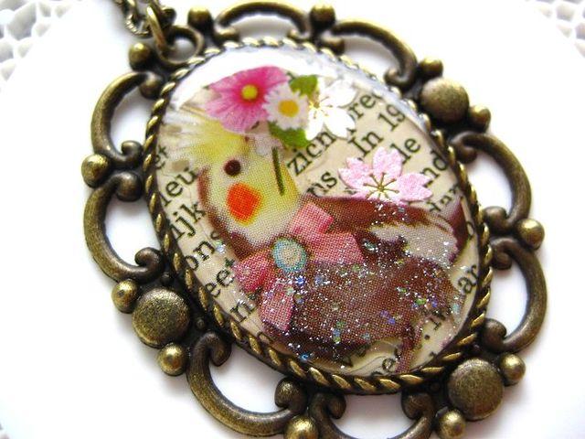 オカメインコと花束のロングネックレス_200 S
