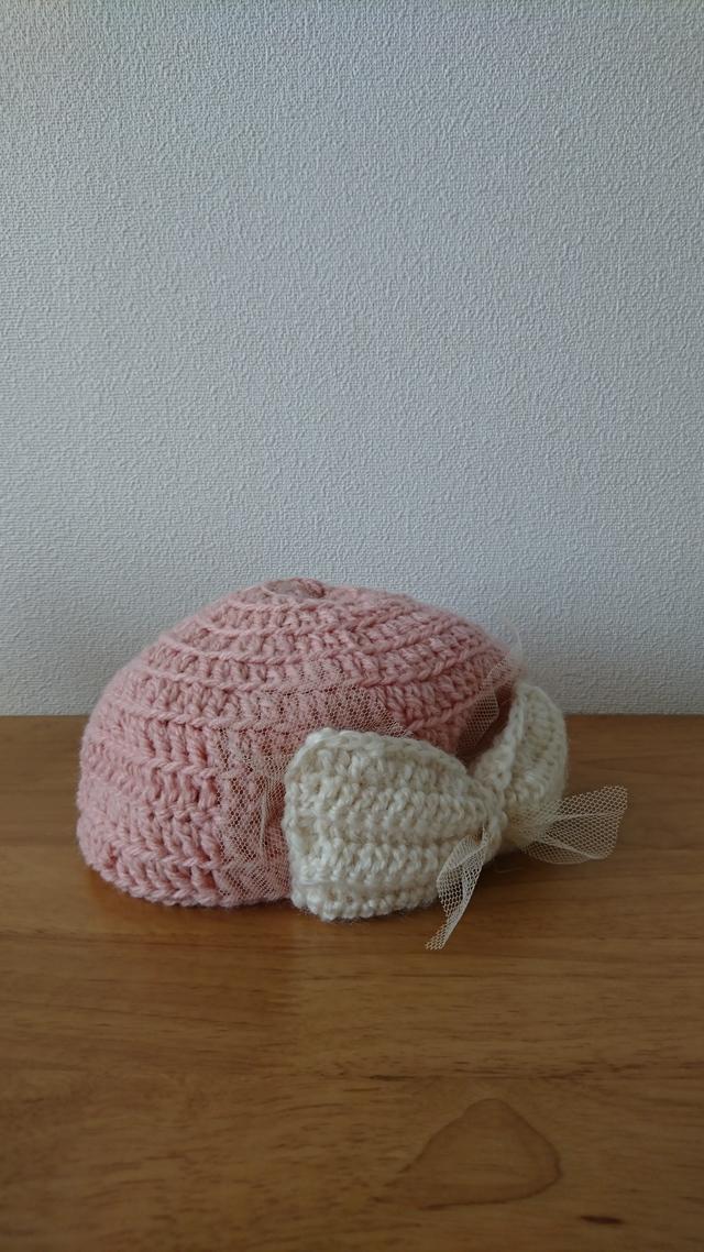 大きなリボンのニット帽  ピンク色
