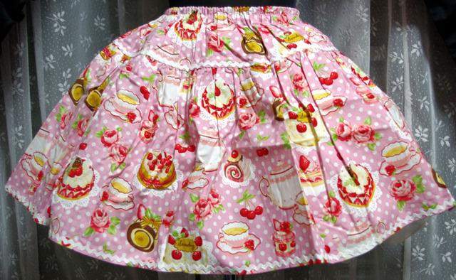 ティーパーティプリントスカート ピンク