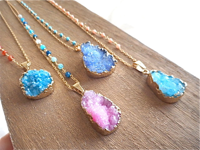 Druzy Ocean Necklace--Pink