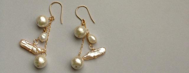 14kgf  chandelier pearl pierce