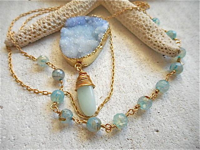 Druzy Ocean Necklace--Forget me not blue