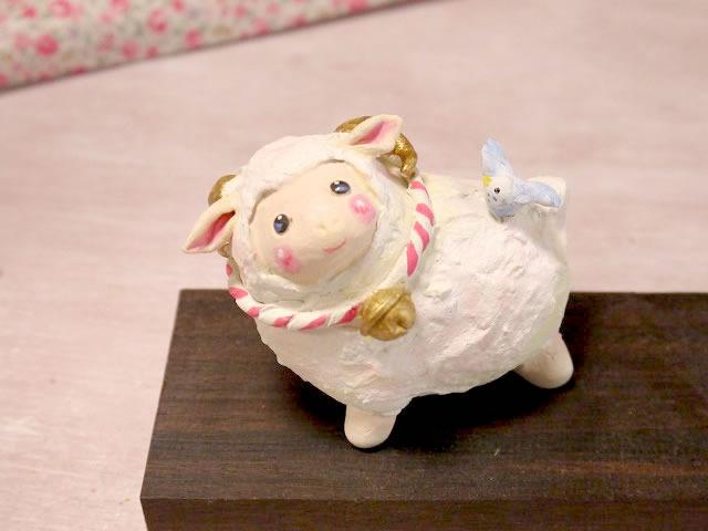 小鳥と干支の置物 羊とセキセイインコ