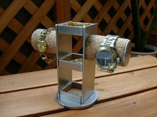 3段トレイ2本掛け腕時計スタンド