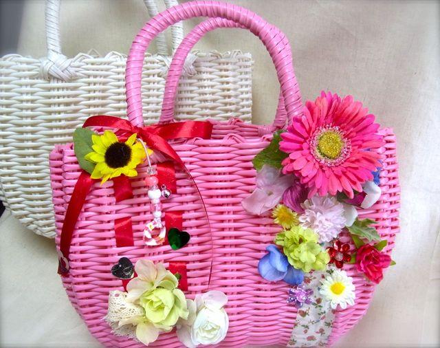 お花のカゴバッグ/ピンクパーティ