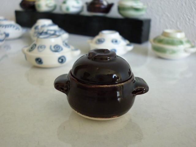 ミニチュア☆陶器 炊飯土鍋(持ち手丸型)