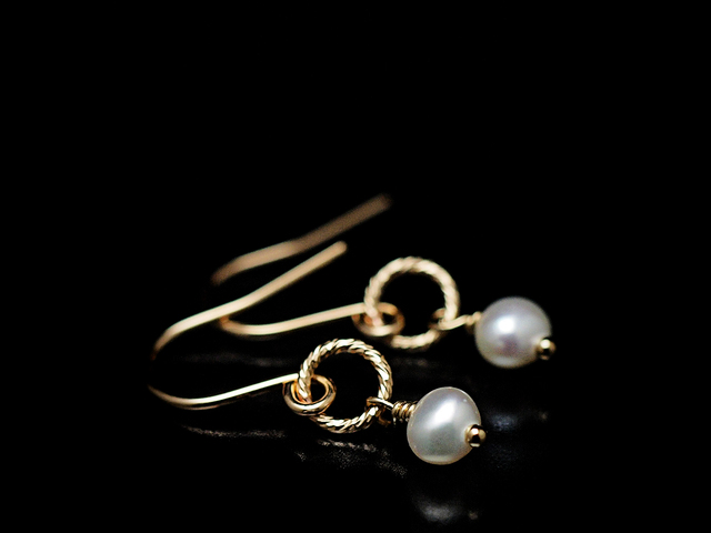 14KGF Petit Charm Earrings WH