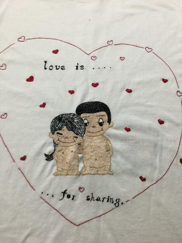 手刺繍Tシャツ love ls