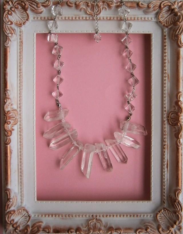 天然水晶のネックレス(水晶とスワロフ...