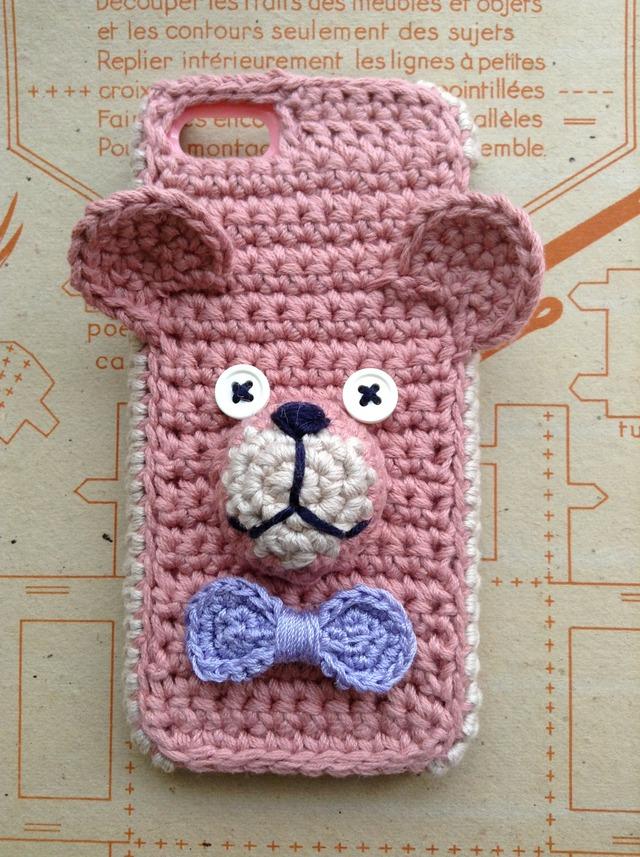 くまのiPhone5ケース *ピンク×パープルタイ*