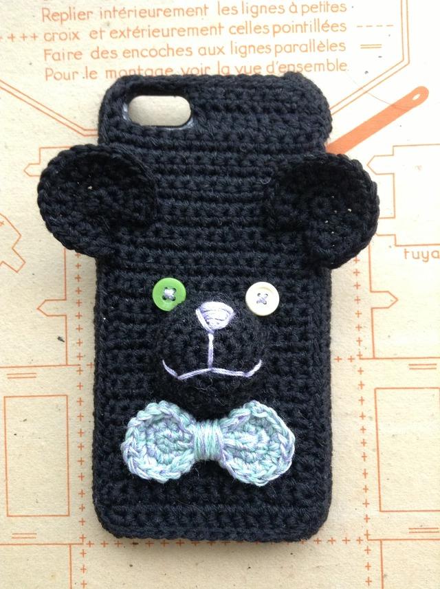 くまのiPhone5ケース *ブラック×グリー...