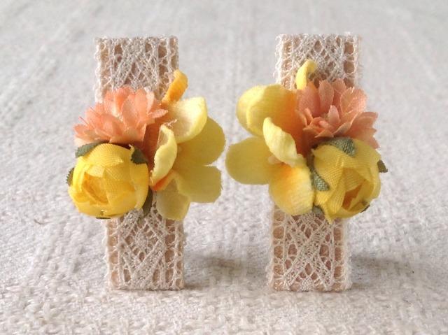染め花のミニクリップ2個組(イエロー)