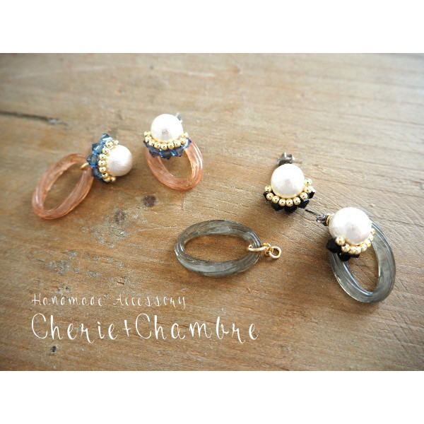 Cotton Pearl×Acryl Ring Pierce&Earring
