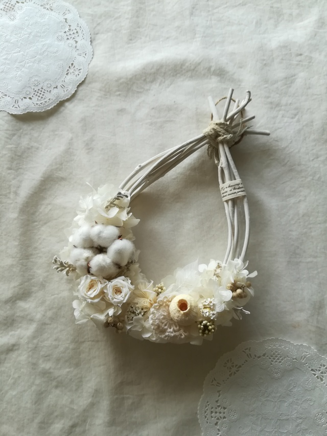 【送料無料】綿花の真っ白なオーバル wr...