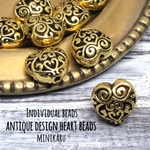 gold antique design heart beads~ 8pcs