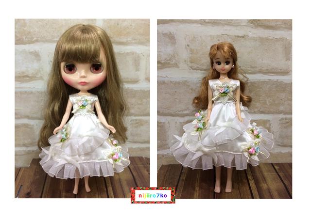 ブライス&リカちゃん ホワイトなドレス。