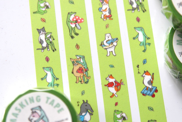 猫カエルマスキングテープ(グリーン)