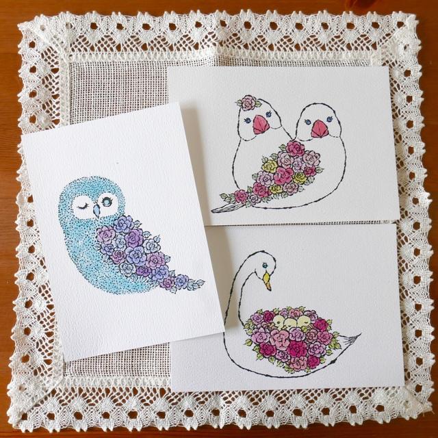 POST CARD 3枚セット - rose bird -