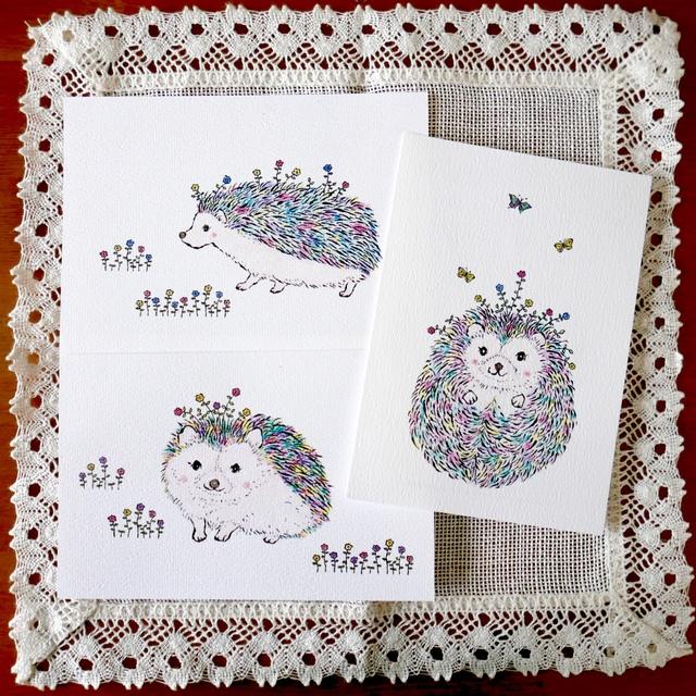 POST CARD 3枚セット -虹色ハリネズミ -