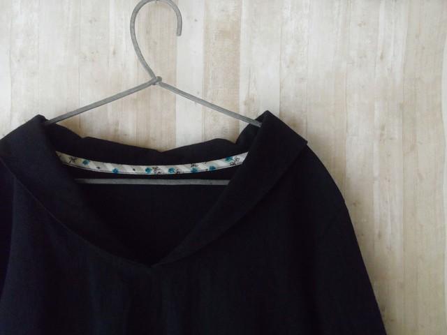 Lsize 小さなセーラー襟のシャツ black