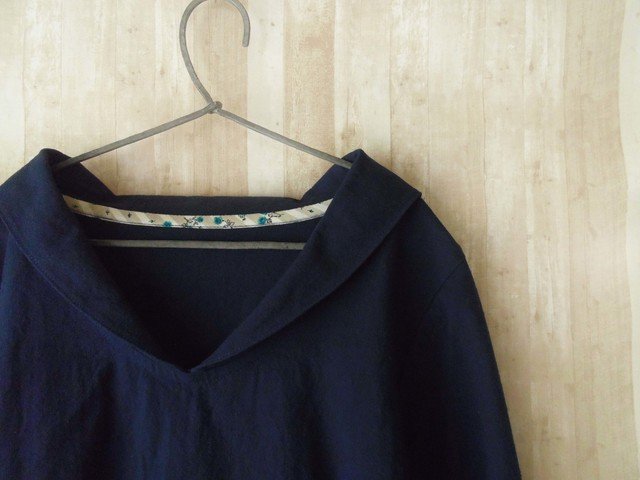 Lsize 小さなセーラー襟のシャツ navy