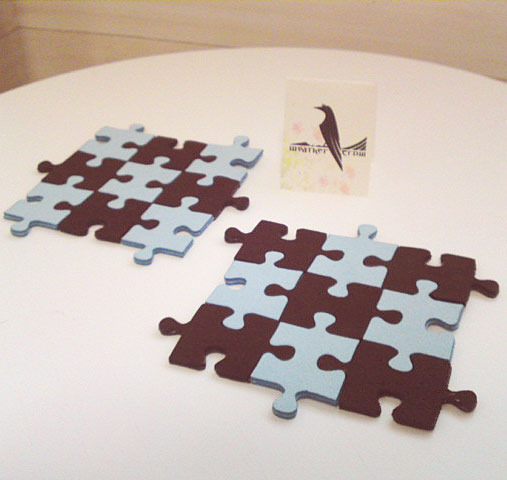 ジグソーパズルのコースター(チョコミント)