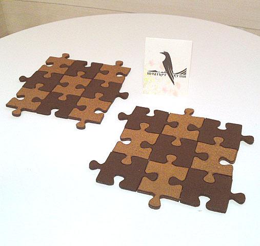 ジグソーパズルのコースター(ビターチョコ)